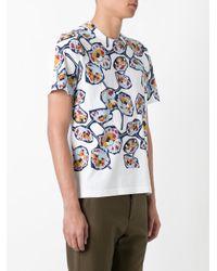 Marni White Floral Print T-shirt for men