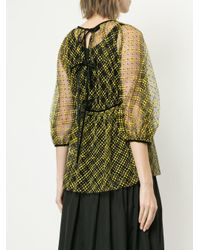 CECILIE BAHNSEN Green Flocked Tulle Blouse