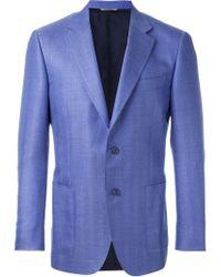 Canali Blue - 'aya' Blazer - Men - Silk/linen/flax/cupro/wool - 54 for men