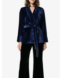 Racil Blue Drawstring Short Kimono