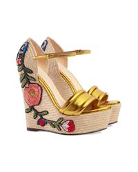 Gucci - Embroidered Metallic Leather Platform Espadrilles - Lyst