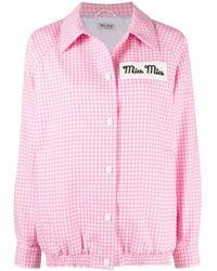Giacca-camicia a quadri di Miu Miu in Pink