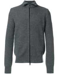 AMI Gray Fisherman Rib Zipped Cardigan for men