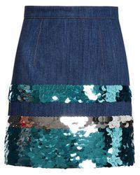 Miu Miu Sequin Embroidered Denim Skirt Blue
