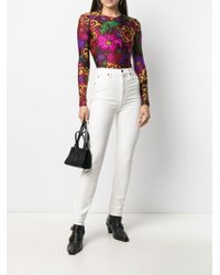Versace Jeans バロッコ フローラル ボディスーツ Red