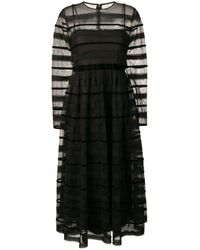 RED Valentino Striped Tulle Dress Black