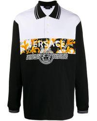 Versace Black Barocco Acanthus Print Polo Shirt for men