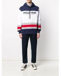Polo Ralph Lauren Gestreifter Kapuzenpullover mit Logo in Blue für Herren