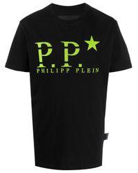 Camiseta con logo Philipp Plein de hombre de color Black