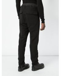 Rick Owens Black Tapered Drawstring Trousers for men
