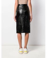N°21 Black Patent Side Slit Midi Pencil Skirt