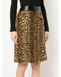 Falda de piel artificial y estampado de leopardo we11done de color Brown