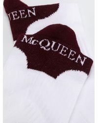 メンズ Alexander McQueen ロゴ 靴下 White