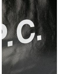Sac cabas imprimé à effet brillant A.P.C. en coloris Black