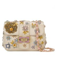 Monique Lhuillier Natural Beaded Shoulder Bag