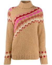 10 Crosby Derek Lam Brown Diagonal Fair Isle Alpaca Turtleneck Sweater