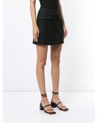 Venroy Black Front Pockets Fitted Skirt