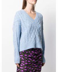 Essentiel Antwerp Vネック ケーブルニットセーター Blue