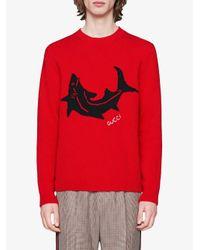 Maglione con ricamo di Gucci in Red da Uomo