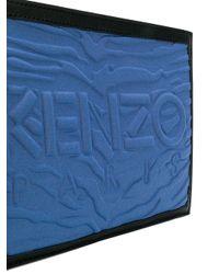 KENZO Blue Branded Zip Clutch