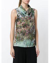 Max Mara Green Garden Print Blouse