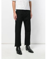 Helmut Lang Black Distressed Cropped Trousers for men