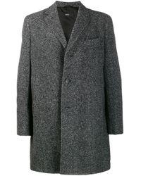 Manteau boutonné à design texturé BOSS pour homme en coloris Gray