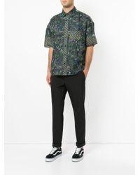 Yoshiokubo Green Dry Leaf Printed Shirt for men