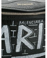Balenciaga Black Gürteltasche mit Graffiti-Print