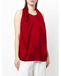 Gianluca Capannolo Red Pleated Front Tank Top