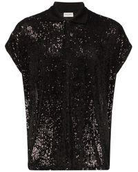 メンズ Saint Laurent Box スパンコール ポロシャツ Black