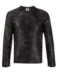 Top a manica lunga camouflage di Comme des Garçons in Black