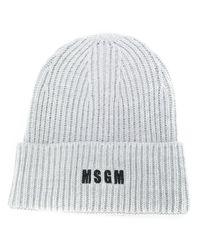 Шапка Бини В Рубчик С Вышитым Логотипом MSGM, цвет: Gray