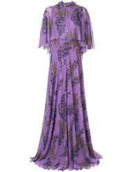 Robe longue évasée à fleurs Giambattista Valli en coloris Purple