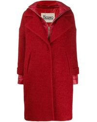 Herno Red Layer Effect Notched Lapels Coat