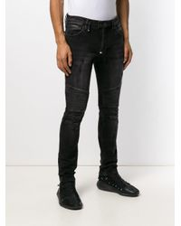Jeans skinny biker di Philipp Plein in Black da Uomo