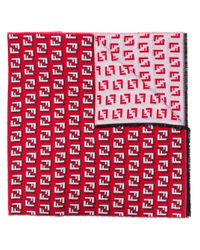 メンズ Fendi モノグラム スカーフ Red