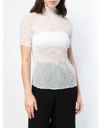 Issey Miyake - White Pleated T-shirt - Lyst