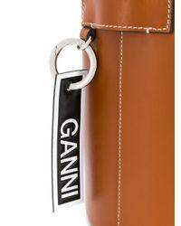 Borsa a secchiello con logo di Ganni in Brown