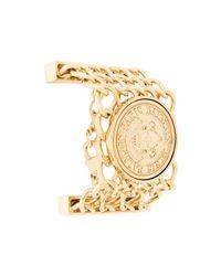 Bracelet manchette à logo Balmain en coloris Metallic
