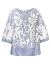 Aviu Blue Floral Applique Blouse