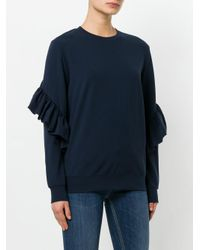 Dondup - Blue Frill-sleeve Knitted Top - Lyst