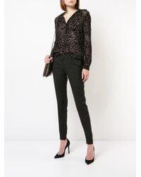 L'Agence Gray Leopard Print Blouse