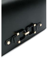 Elisabetta Franchi Black Rectangle Cable Shoulder Bag
