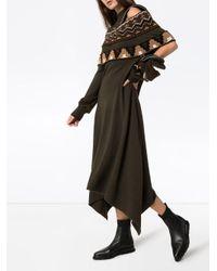 Sacai Green Kleid mit Einsätzen