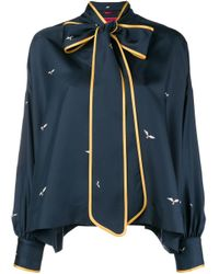 F.R.S For Restless Sleepers Bow Neckline Blouse Blue