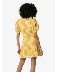 Платье Мини С Жаккардовым Цветочным Узором ROTATE BIRGER CHRISTENSEN, цвет: Yellow