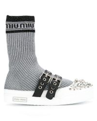 Miu Miu Metallic Sock Insert Sneakers