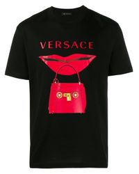 T-shirt à logo imprimé Versace pour homme en coloris Black