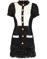 Elisabetta Franchi バイカラー ツイードドレス Black